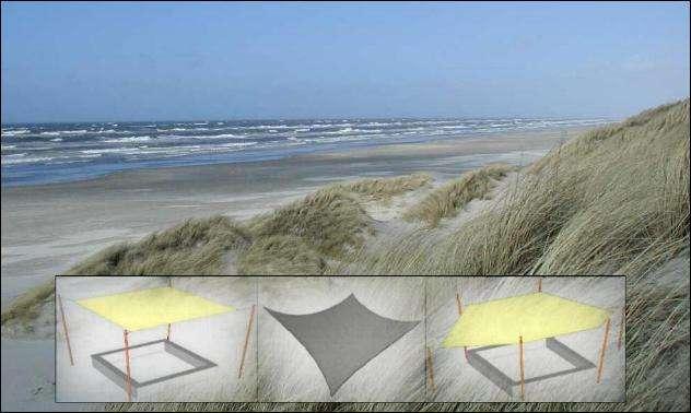 Solsejl på stranden